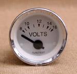 Voltmätare 8-16 volt 52mm vit