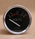 Voltmätare 16-32 volt 52mm svart