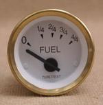 Bränslemätare 52 mm vit mässing