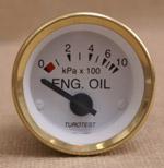 Oljetrycksmätare 0-10 bar vit mässing